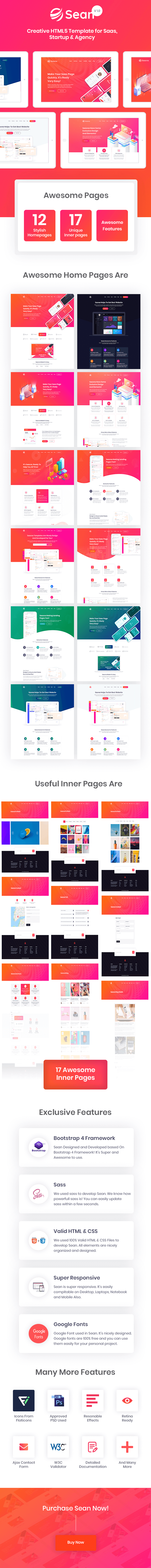 Sean - Saas, Software & App Landing Page HTML Template - 2