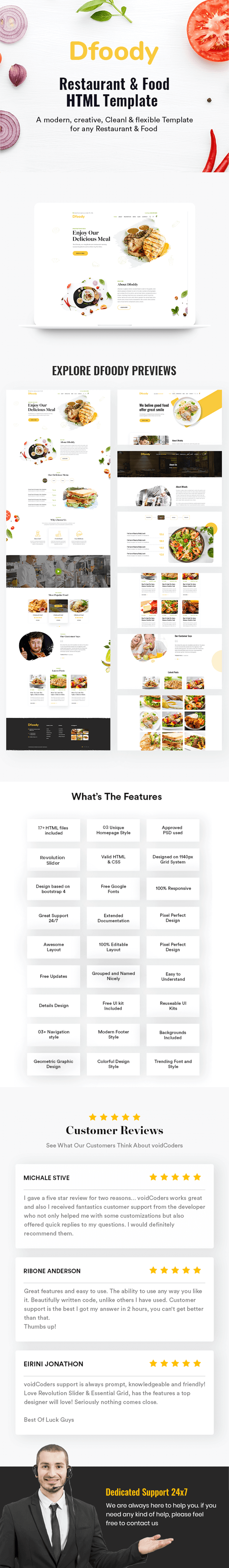 Dfoody - Restaurant HTML5 Template With RTL Support - 1
