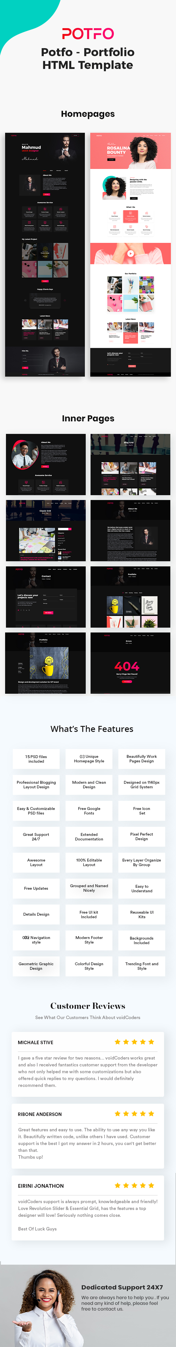Potfo - Personal Portfolio HTML5 Template with RTL support - 1